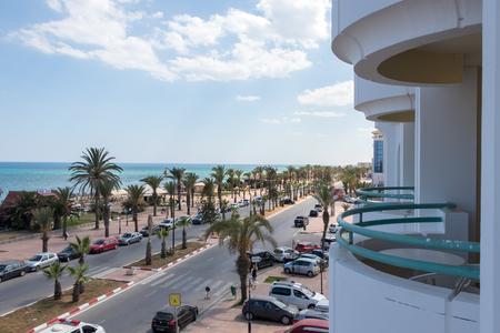 Yasmine Hammamet, TUNISIA - JULY 24 2018: A street view in Mediterranean city of Yasmine Hammamet from the balcony, Africa