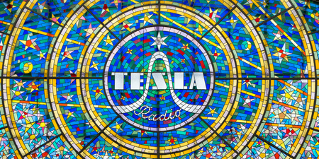 PRAGUE, CZECH REPUBLIC - AUGUST 25, 2018: Stained glass mosaic advertising the Tesla Radio in the city of Prague
