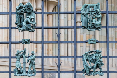 A decorative metal fence with the ornaments in Prague Castle, Czech Republic