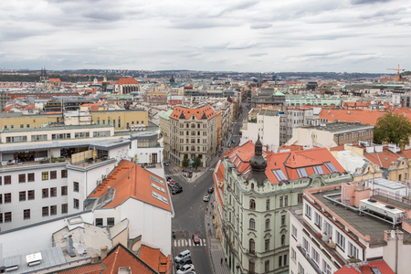 Areal view of Prague from nearly 70 m high New Town Hall, Czech Republic