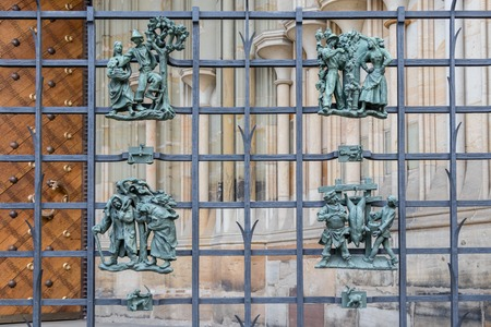 A decorative metal fence with People in Prague Castle, Czech Republic