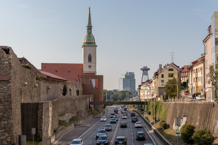 Daily traffic on the roads in the center of Bratislava, the capital of Slovak Republic