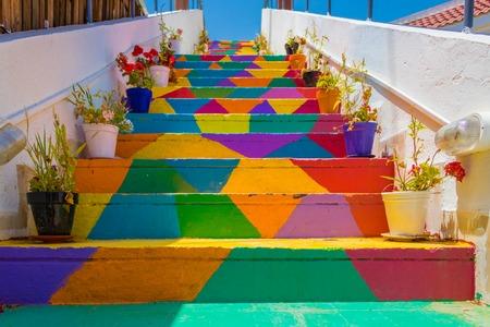 Colorful stairs In the street in Tunis, Tunisia Foto de archivo - 119398471