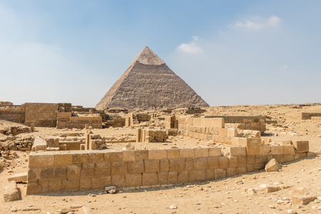 The magnificent Pyramid of Chephren or Khafre in Giza, Egypt
