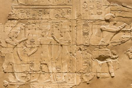 Egyptian hieroglyphics at the Karnak Temple in Luxor, Egypt