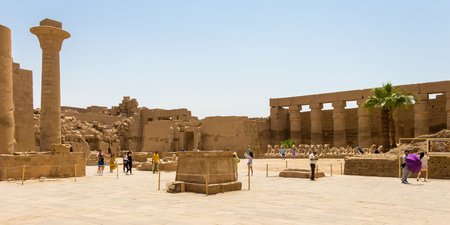 Luxor, Egypt - April 16, 2019: Great court at the Karnak Temple Complex, Luxor, Egypt Editorial
