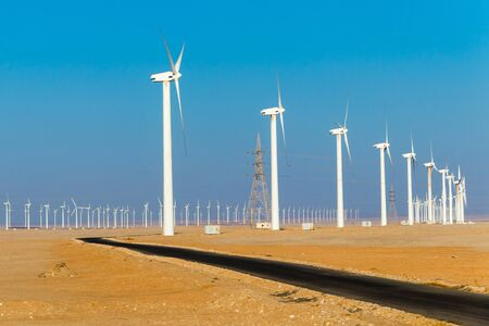 A road to the windmills electric power production