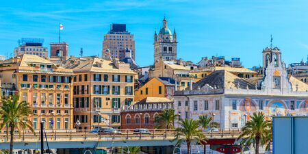 Skyline of the historic medieval center of Genoa, Italy