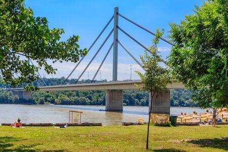 Liberty Bridge a cable-stayed bridge on the Danube river in Novi Sad, Serbia 스톡 콘텐츠