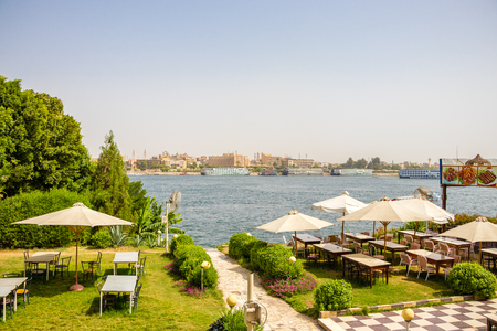 Luxor, Egypt - April 16, 2019: A view of the river Nile from a restaurant on the west bank in Luxor, Egypt