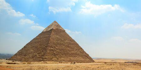 The ancient Egyptian Pyramid of Khafre (Chephren) in Giza, Cairo, Egypt