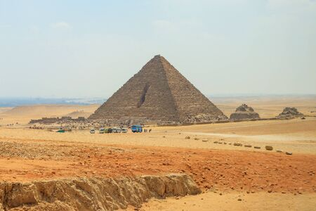 The road to the Great Pyramid of Menkaure in Giza with tourist in Egypt Stock Photo