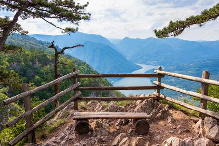 Banjska stena viewpoint in Tara National Park looking down to Canyon of Drina river, Serbia