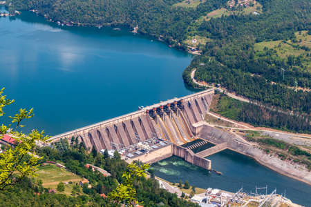 The hydroelectric power station on the Lake Perucac and river Drina, Bajina Basta, Serbia.