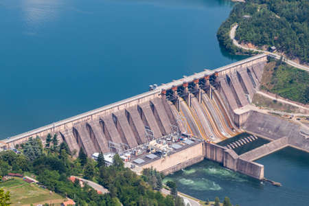 The hydroelectric power station on the Lake Perucac and river Drina, Bajina Basta, Serbia. Stock Photo