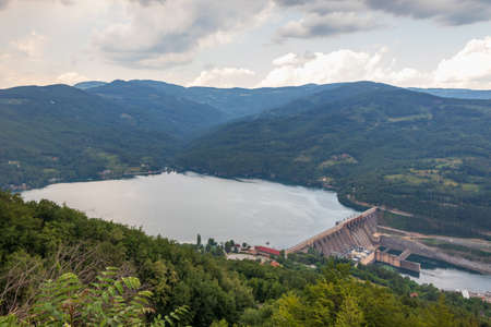 View of a dam of hydroelectric power station in Bajina Basta, Serbia.