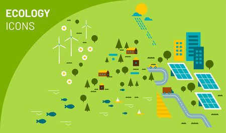 Vector illustration of ecology icons. The Infographic concept for logo, banner, publishing, web, graphic design. Organic and natural emblem. Recycling ecological design. Alternative energy Stock Illustratie