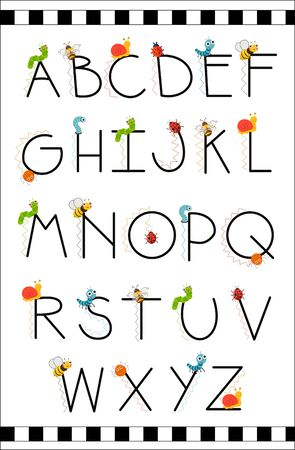 Bugs funny alphabet in cartoon style. Colorful modern alphabet for kids, nursery, poster, card, t shirt, birthday party, packaging paper design, Wallpaper, baby clothes. Vector illustration