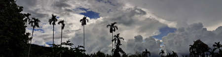 Beautiful photo of nature panorama, with the sky and clouds mountains forest natural area in countryside, Thailand.