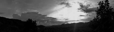 Beautiful vintage photo concept of panorama nature, with sunset on the sky and clouds mountains forest natural area in countryside, Thailand.