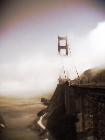Fog rolling through the Golden Gate Bridge in the SF Bay.