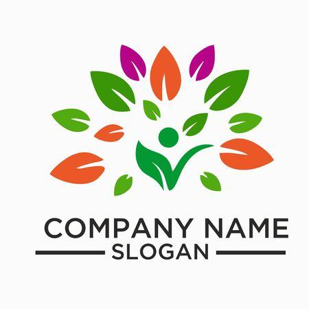 Leaf,plant,logo,ecology,people,wellness,green,leaves,nature symbol icon set of vector designs Illustration