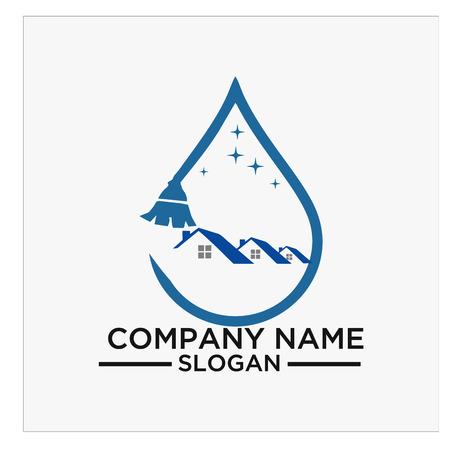 Logo, pictogram en vector voor reiniging en onderhoud