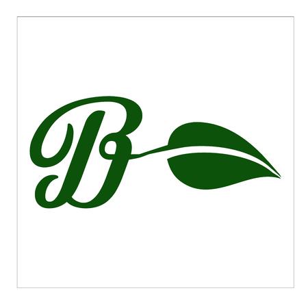 logo dan vector daun   huruf b Ilustração
