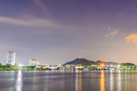 distric: City night view at Sriracha distric Chonburi, Thailand Stock Photo