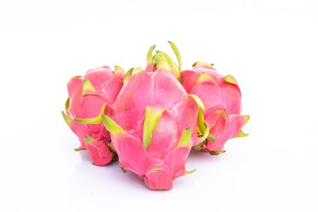 dragonfruit: Group of dragonfruit with white background Stock Photo