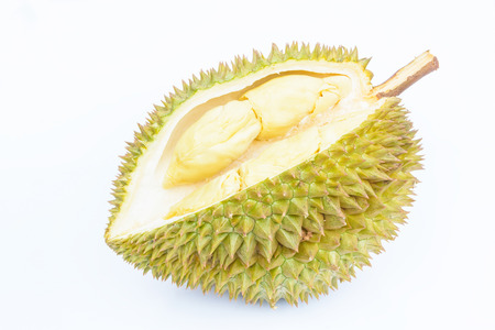 trees with thorns: durian peeled on white background with horizontal