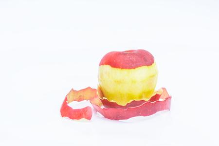 peeled: Peeled apple with white background