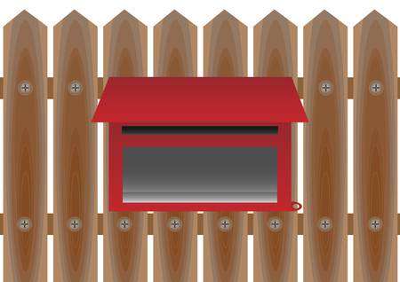 Wooden fence of home background with mail box