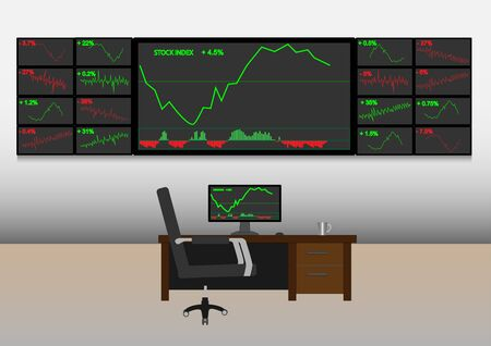 stock trader: Concept and idea, stock trader monitor realtime stock in trade room Illustration