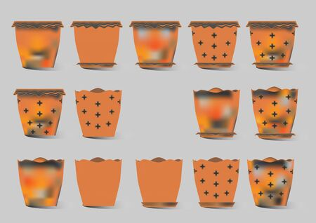 earthenware: Brown flower pot vector collection. Illustration