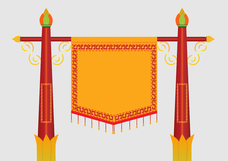 Chinese style object and flag collection. Illustration