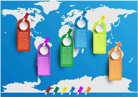 World map infographic with color tag and pin marking