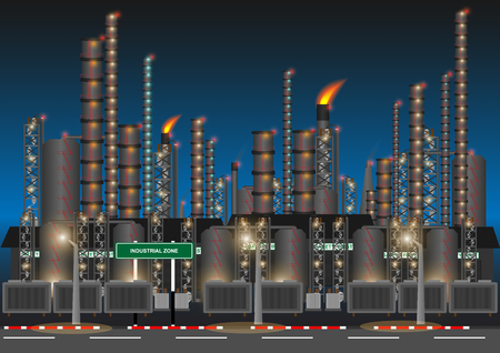 Factory in industrial zone in night time. Concept and idea background. Vector EPS10 Illustration