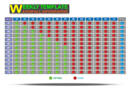 weekly: Weekly format waterfall template infographic for create report. Vector EPS10 Illustration
