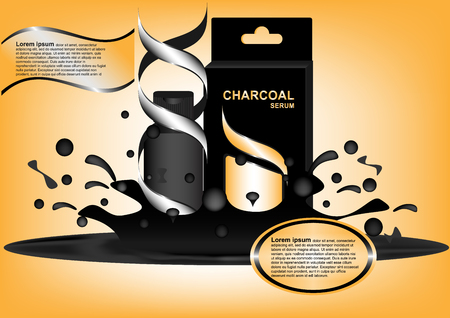 skin tones: Concept and idea advertising black bottle charcoal serum with golden color texture background. Vector EPS10