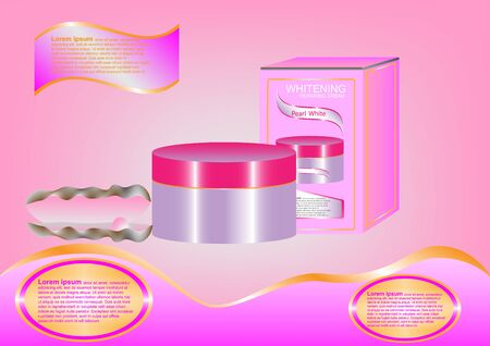 skin tones: Concept and idea advertising pink bottle whitening repair cream on pink background. Vector EPS10 Illustration