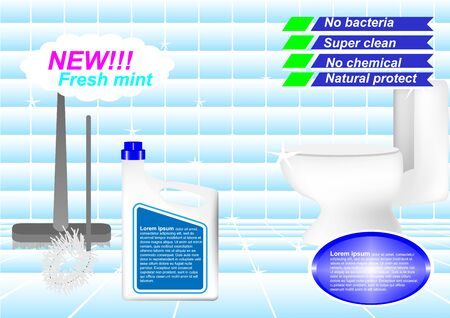 Concept and idea of an advertisement for a clean toilet in a bathroom with a wash cleaner bottle
