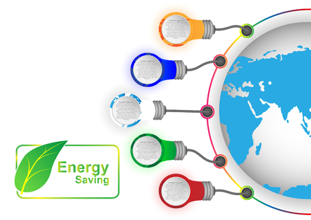 the greenhouse effect: Concept and idea green leaf icon label infographic with color lamp and world map. Vector EPS10
