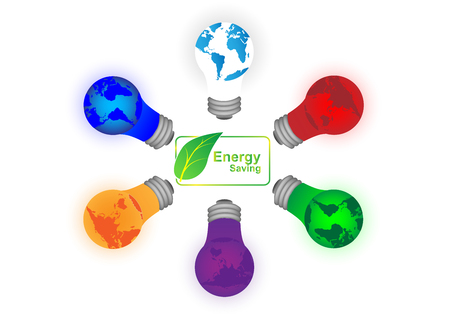 the greenhouse effect: Concept and idea green leaf icon label infographic with color lamp. Vector EPS10 Illustration