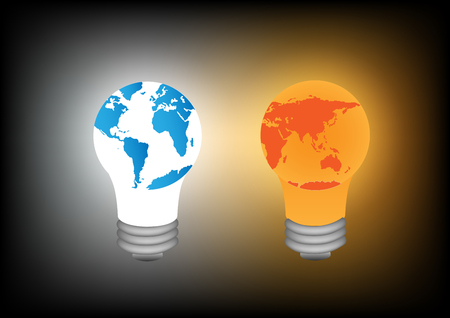 the greenhouse effect: Concept and idea color world lamp with dark background. Vector EPS10