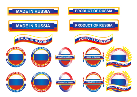 visible: Icon and country logo infographic. Made in Russia. Vector EPS10 Illustration