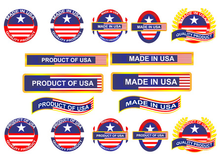 visible: Icon and country logo infographic. Made in USA. Vector EPS10