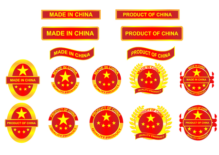 Icon and country logo infographic. Made in China. Vector EPS10