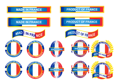 visible: Icon and country logo infographic. Made in France. Vector EPS10
