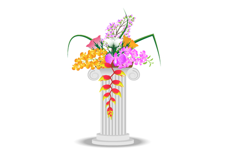 roman pillar: Concept and idea Roman pillar with flower background. vector EPS10